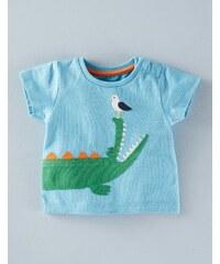 T-Shirt mit großer Applikation Blau Baby Boden