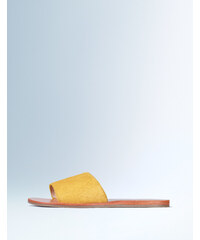 Ponyfell-Sandalen zum Hineinschlüpfen Gelb Damen Boden
