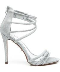 IDEAL Stříbrné brokátové sandály na podpatku