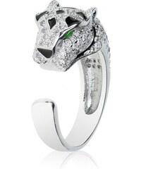 Meucci Luxusní stříbrný prsten tygr se smaragdy a zirkony