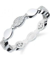 Meucci Elegantní stříbrný prsten se zirkony