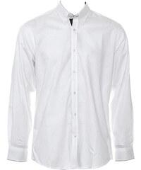 Pánská košile s dlouhými rukávy Contrast - Bílá a temně modrá S