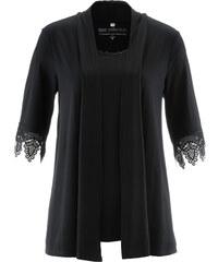 bpc selection T-shirt 2en1 avec dentelle noir manches mi-longues femme - bonprix