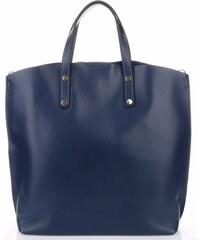 Genuine Leather Kožená kabelka Shopperbag s kosmetickou kapsičkou Tmavě modré