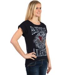 TopMode Moderní tričko s potiskem a kamínky tmavě modrá