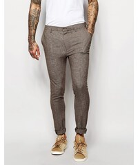 ASOS WEDDING Super Skinny Suit Trousers In Brown Dogstooth - Braun