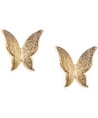 Náušnice ve tvaru motýlka ve zlaté barvě Orelia
