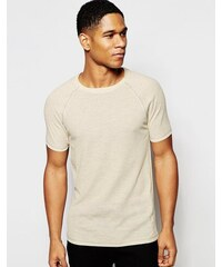 ASOS Loungewear - T-shirt moulant en lin gaufré - Avoine - Beige