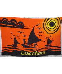 Bali Blue Paréo Coucher De Soleil Orange Foncé - Canga Ceara Sunset