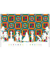 Bali Blue Paréo Multicolore Avec Personnages - Canga Alagoas Silhueta