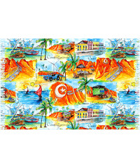 Bali Blue Paréo Paysages Canoa Quebrada - Canoa Quebrada Aquarela