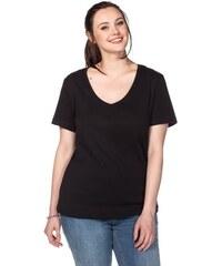 Damen Casual BASIC T-Shirt mit V-Ausschnitt SHEEGO CASUAL schwarz 40/42,44/46,48/50,52/54,56/58