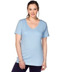 SHEEGO CASUAL Damen Casual BASIC T-Shirt mit V-Ausschnitt blau 40/42,44/46,48/50,52/54,56/58