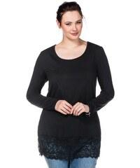Damen Casual BASIC Longshirt mit Spitze SHEEGO CASUAL schwarz 40/42,44/46,48/50,52/54,56/58