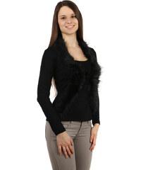 TopMode Společenské tričko / bolerko 2v1 s kožešinou černá