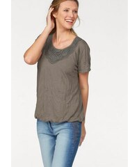 Cheer Damen T-Shirt Crinkle-Optik mit Spitze braun 34,36,38,40,42,44,46