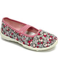 Ren But Dívčí květované bačkůrky - šedo-růžové