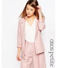 ASOS PETITE - Blazer de costume épuré en lin mélangé de qualité supérieure - Rose