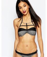 Lipsy - Haut de bikini à motif avec encolure montante - Noir