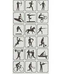 Egeria Strandtuch Activity mit Sport-Motiven grau 1xStrandtuch 75x160 cm