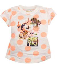 Dirkje Dívčí puntíkované tričko s potiskem - oranžovo-bílé