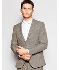 Selected Homme - Veste de costume stretch pour mariage motif pied-de-poule - Marron