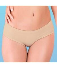 Hanna Style Kalhotky bezešvé, francouzské, bavlněné - lepené lemy béžová L