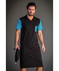 Zaffe Pánská noční košile Adam černátyrkysová XL