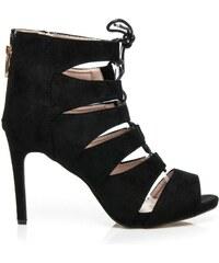 SERGIO TODZI Vázané černé sandály na podpatku