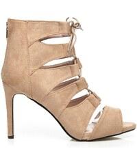 SERGIO TODZI Vázané béžové sandály na podpatku