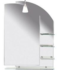 AQUALINE - WEGA zrcadlo 65x90cm, zaoblené, s policemi (65028)