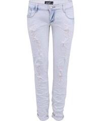 Modro-bílé dámské džíny s otrhaným a pomačkaným efektem Haily´s Jean Lyn
