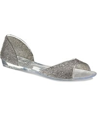 Stříbrná dámské sandály bez podpatku  c2def55afa