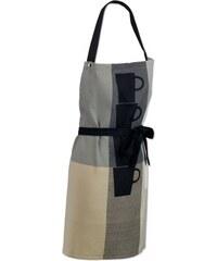 Zástěra Tabea 100% bavlna, šedá/béžová/černá s motivem hrnků KELA kl-11741