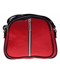 Kožené kabelky listonošky Genuine Leather 3 přihrádky červená