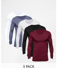 ASOS - Lot de 5 t-shirts très moulants à col ras du cou et manches longues - Multi