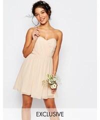 TFNC WEDDING - Robe courte bandeau en mousseline - Rose