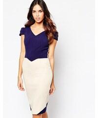 Hybrid - Luxe Omega - Kleid aus Kreppstoff mit Ausschnitten an den Ärmeln - Marineblau