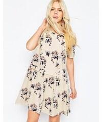 Y.A.S - Babydoll-Kleid mit Blumen - Weiß