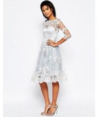 Glamorous - Robe mi-longue avec superposition en dentelle - Bleu