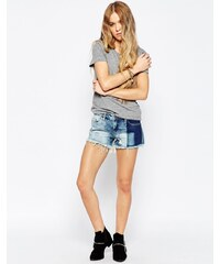 BLANK NYC - Val-Party - Abgeschnittene Patchwork-Jeansshorts - Blau