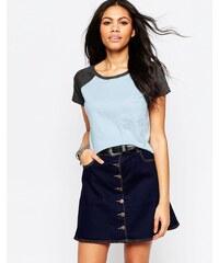 Brave Soul - Kurzes T-Shirt mit Kontrastärmel und Tasche vorne - Blau