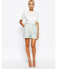 Fashion Union - Short ajusté en maille bouclée - Vert