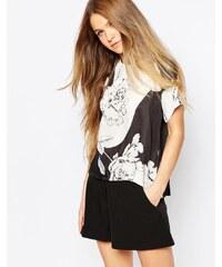 Talulah - Gewebtes T-Shirt mit Blumenprint - Schwarz