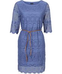 BODYFLIRT Shirtkleid mit Spitze 3/4 Arm in blau von bonprix