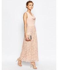 Oasis - Maxi robe de qualité supérieure en dentelle à col bénitier - Rose