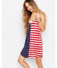 Vans - Robe débardeur avec dos tombant et motif américain à pois et rayures - Multi