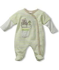 Schnizler Unisex Baby Schlafstrampler Interlock Schlafanzug Best Friends gestreift, Gr. 50, Grün (original 900)