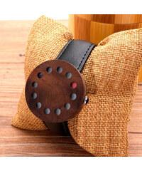 Lesara Holz-Armbanduhr mit Lederarmband Hole