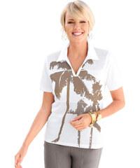Tričko bílá-hnědošedá
